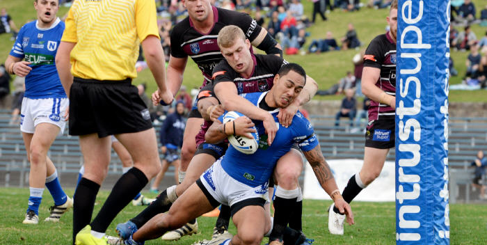 Newtown hooker Kurt Kara goes very close to scoring in the first half against the Blacktown Workers Sea Eagles at Henson Park on Saturday. Jets front-rower Jimmy Jolliffe is in the background. Photo: Michael Magee Photography.