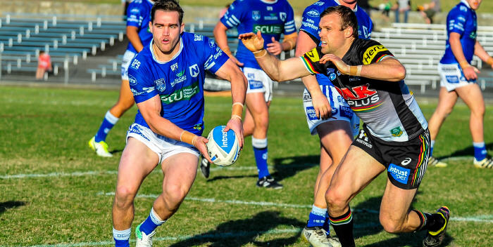 Jets hooker Adam Clydsdale (with the ball) was one of Newtown's best forwards against the Penrith Panthers at Henson Park last Saturday. Photo: Gary Sutherland Photography.