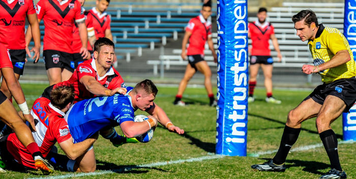 Newtown backrower Jack Williams powers over to score the Jets first try against North Sydney at Henson Park on Saturday. Photo: Gary Sutherland Photography