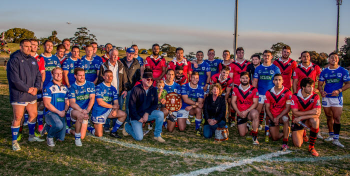 Members of the Hyde family joined with the Newtown Jets and North Sydney Bears teams in this group photo following last Saturday's match at Henson Park. Photo: Gary Sutherland Photography