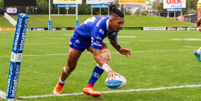 Newtown Jets winger Bessie Aufaga-Toomaga scores in last Saturday's comprehensive win against Penrith. Photo: Mario Facchini (MAF Photography)