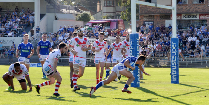 Newtown Jets halfback Kyle Flanagan scores against St George Illawarra last Saturday at Henson Park. Photo: Michael Magee Photography.