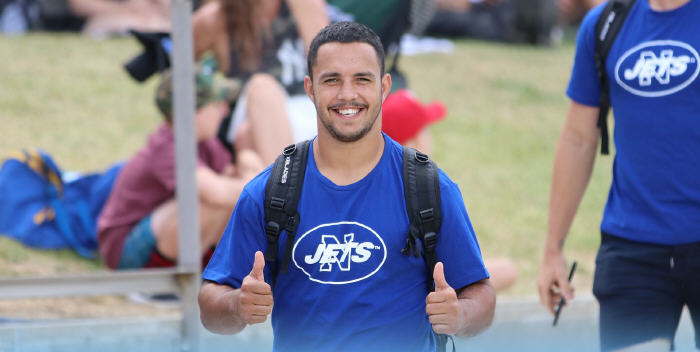 Newtown's halfback, Braydon Trindall (a Wee Waa junior and a key member of the 2018 Cronulla Sharks Jersey Flegg premiership team) looks to be in good spirits as the Jets squad arrives for their final trial match at the Maitland Sportsground on Saturday. Photo: Cronulla Sharks Media Team.
