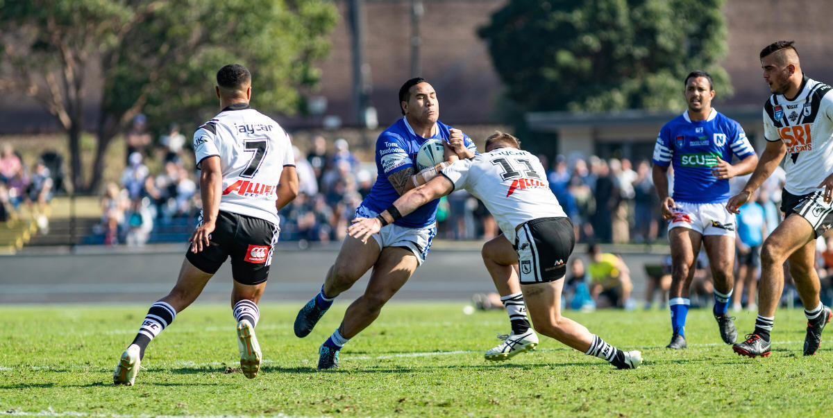 Big Wes Lolo takes on the Western Suburbs Magpies defence at Lidcombe Oval last Sunday, with (on the right) Newtown Jets team-mate Braydon Trindall in close proximity. Photo: Mario Facchini, mafphotography