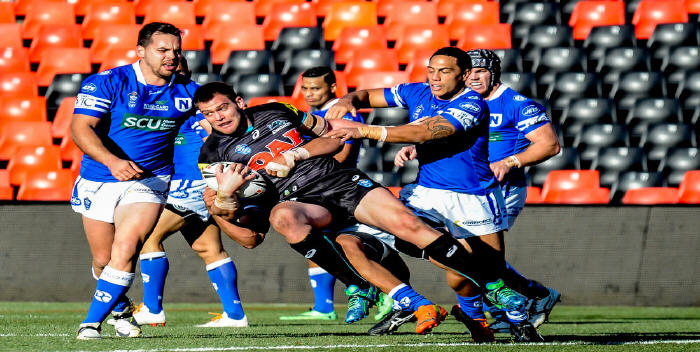 Samisoni Langi scores the Newtown Jets' first try against Wests Tigers  at Leichhardt Oval on Saturday.