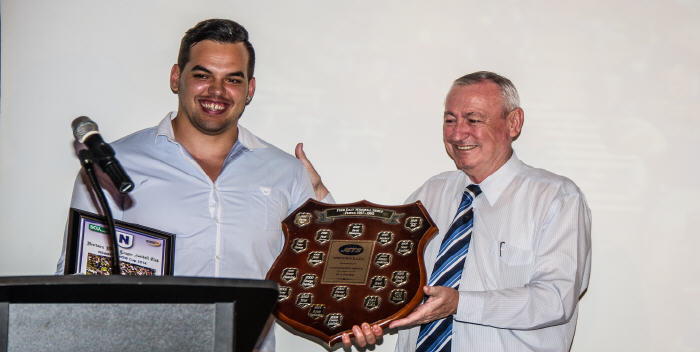 Ryan 'Rhino' Verlinden capped off a memorable season winning the prestigious Fred Daly Memorial Shield which was presented to him by Petersham RSL CEO Danny Fitzgerald