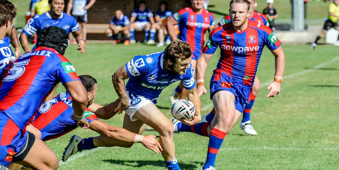 Newtown Jets fullback Nathan Gardner cuts through the Newcastle Knights defensive line at Kurri last Saturday.  Photo: Gary Sutherland Photography