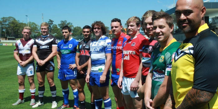 Newtown's Josh Davis pictured with players from all twelve teams competing in the 2015 VB NSW Cup.
