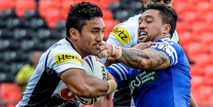 Newtown's high-performance back-row forward Tinirau Arona looks to apprehend this Penrith Panthers opponent at Pepper Stadium last Saturday. Photo: Gary Sutherland Photography