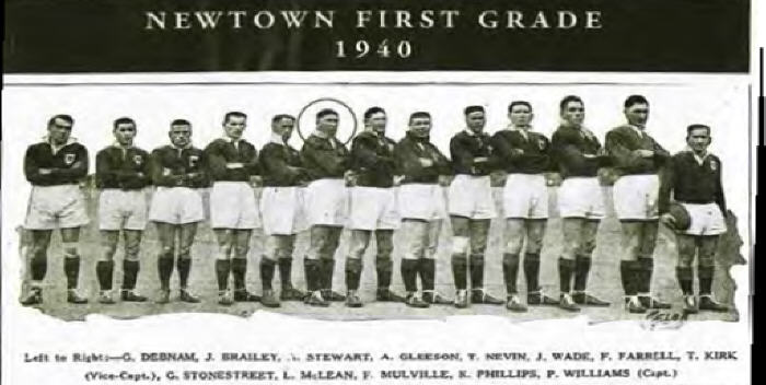 Joe Wade pictured here in Newtown's 1940 First Grade team next to Frank Farrell.