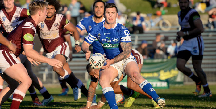 New signing Gerard McCallum (with the ball) impressed on his debut with the Jets at Henson Park on Saturday against Manly-Warringah. Photo: Mike Magee Photography.