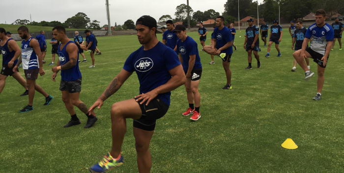 Newtown Jets and Cabramatta Two Blues joint training session at Henson Park, Thursday 14th January 2016. Photo: Wayne Leong