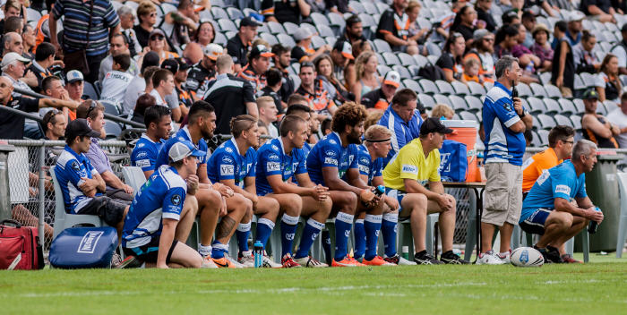 The extended Newtown Jets bench follows the action closely against Wests Tigers at Campbelltown Sports Stadium on Saturday evening. Photo: Mario Facchini Photography.