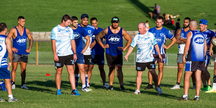 Cronulla Sharks coaching staff members Steve Price and James Shepherd put the Newtown Jets pre-season training squad through their paces at Henson Park last Thursday. Photo: Mario Facchini.