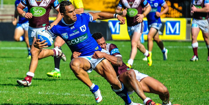 Newtown Jets halfback Arana Taumata was in fine attacking form against Manly-Warringah at Brookvale Oval on Saturday. Photo: Gary Sutherland.