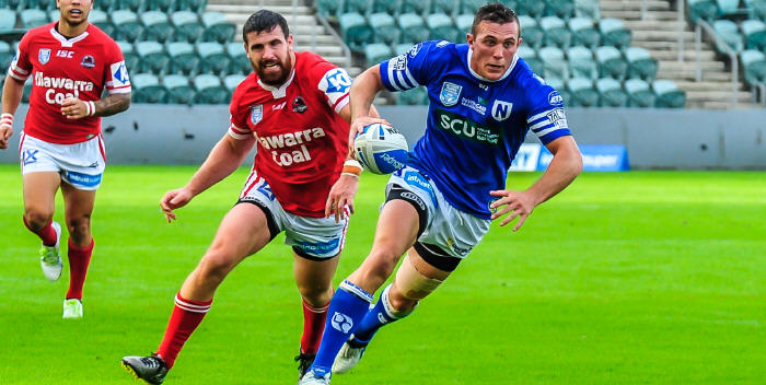 Newtown second-rower Kurt Capewell, a member of last year's all-conquering Ipswich Jets National State Championship team, takes the ball forward against the Illawarra Cutters on Saturday. Photo: Gary Sutherland Photography.