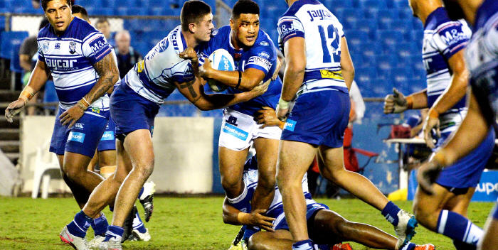 Powerhouse Newtown Jets forward Malakai Houma is in his career-best form and is shown here in action against the Canterbury Bulldogs at Belmore Sports Ground. Photo: Mike Magee Photography.