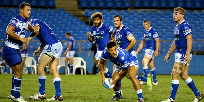 Newtown Jets playmaking halfback Fa'amanu Brown (with the ball) was named man of the match in last Saturday's Polynesian Test match classic between Samoa and Tonga at Pirtek Stadium. Photo: Michael Magee Photography.
