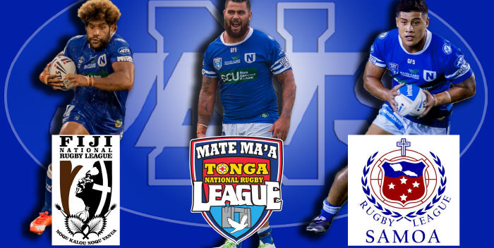 INTERNATIONAL JETS. The three current Newtown Jets ISP NSW players who will be representing their countries of heritage in this weekend's Pacific Test matches - from the left: Junior Roqica (Fiji Bati), David Fifita (Mate Ma'a Tonga) and Fa'amanu Brown (Toa Samoa). Image & Photo: MAF Photography