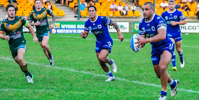 Newtown Jets second-rower Anthony Moraitis (with the ball) is starting to hit top form. Jets team-mates Kurt Kara (left) and Matt McIlwrick are also in this picture. Photo: Gary Sutherland Photography.