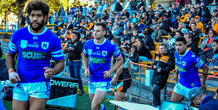 When you're a Jet you're a Jet all the way …. Junior Roqica, Matt Evans and Malakai Houma take the field for last Saturday's Intrust Super Premiership NSW match at Leichhardt Oval. Photo: Gary Sutherland Photography.