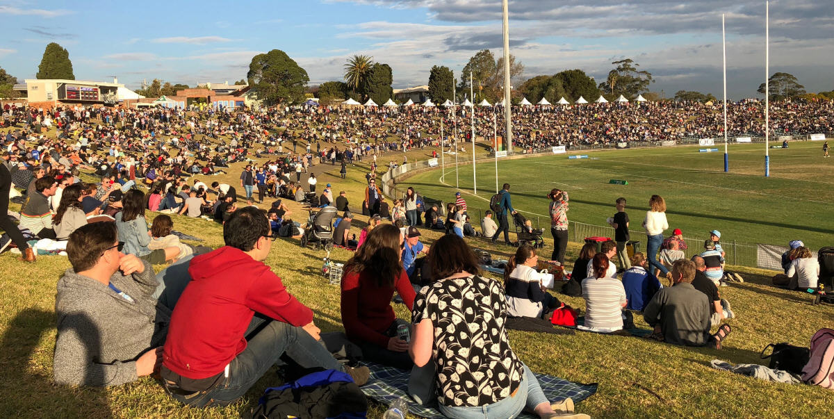 A shot of the Newtown Jets crowd at the 2018 Beer Footy & Food Festival. Photo: James Smith