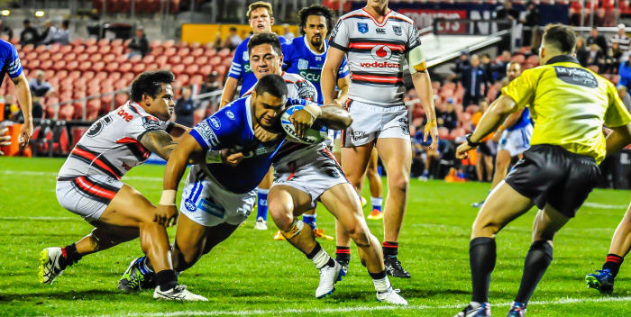 Newtown Jets front-rower Saulala Houma goes close to scoring in a tense moment in Sunday night's elimination semi-final against the New Zealand Warriors at Pepper Stadium, Penrith. Photo: Gary Sutherland Photography.