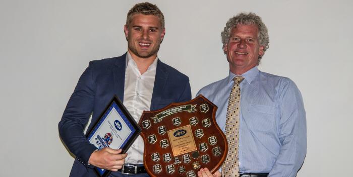 2017 Fred Daly Memorial Shield winner Matt McIlwrick pictured here with Petersham RSL Club President Michael Ablott. Photo: Gary Sutherland