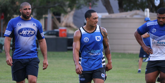 Three of the best – (from left) Khalid Deeb, Kurt Kara and Saulala Houma have given the Newtown Jets great service in the second decade of the 21st century. Khalid is making a comeback to the playing arena this year and his pre-season training form and application have been top class. Photo: Wayne Leong