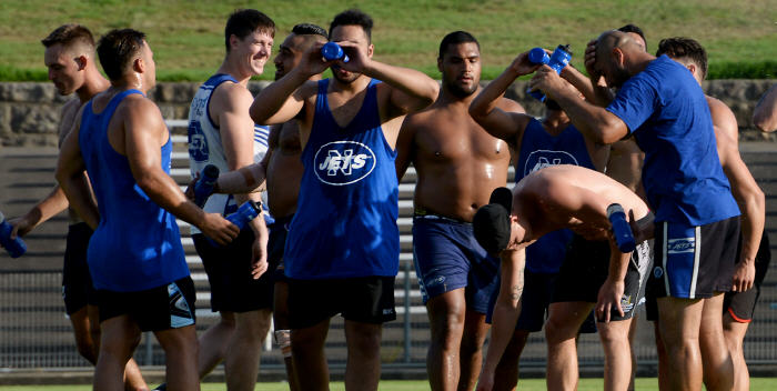 It's been a hot summer - Jets' Strength & Conditioning Coach Graeme Morris is the only one laughing in this photo taken at a recent training session. Predicted heatwave conditions have forced changes to games scheduled at Henson Park on Saturday 11th February. Photo: Mike Magee