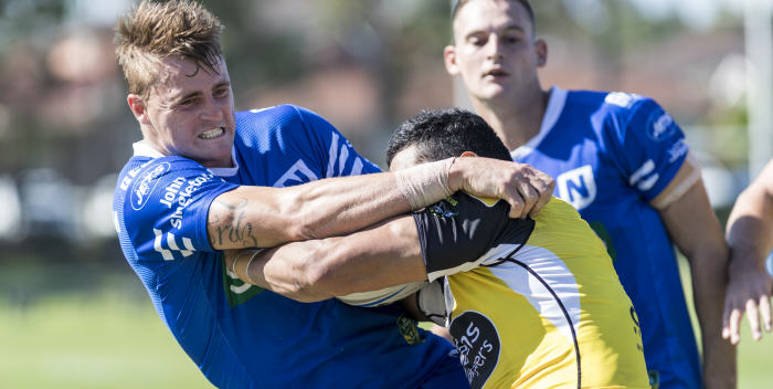 Winger and centre Ben Fritz (pictured here tackling a Mounties opponent) has joined the Newtown Jets after previous stints at Parramatta and Manly-Warringah. Jets centre Matt Evans is also pictured. Photo: MAF Photography