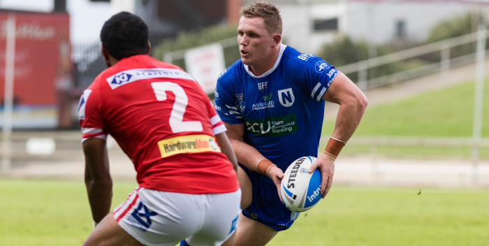 Newtown Jets backrower Jack Williams (with the ball)  is a product of the Cooma Stallions (Group 16) and Canberra Raiders clubs. He is a former Canberra Raiders NYC player of the year. Photo: MAF Photography