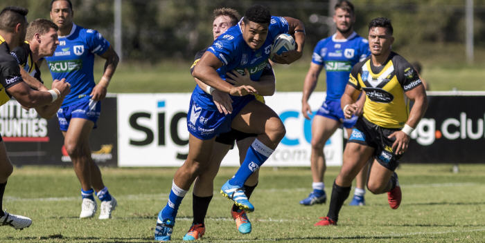 Newtown Jets front-rower Malakai Houma in full cry against Mounties last Saturday prior to his suffering what will probably be a season-ending leg fracture. Photo: MAF Photography