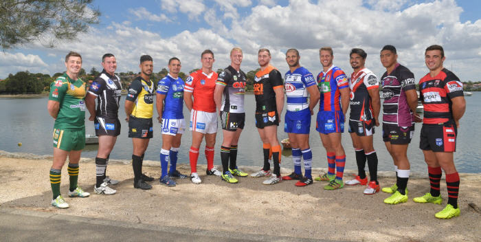 The twelve ISP NSW clubs show off their team colours at the recent NSWRL 2017 season launch. Fullback Luke Towers (fourth from the left) represented the Newtown Jets. Photo: NSW Rugby League