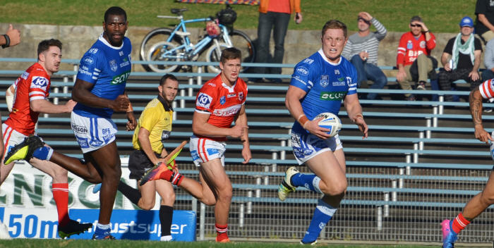 Newtown Jets backrower Jack Williams looks for support with Edrick Lee close by in Saturday's match against Illawarra at Henson Park. Photo: Michael Magee Photography