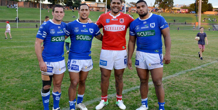 Four team-mates from the premiership-winning 2012 Newtown Jets team had a post-match reunion at Henson Park last Saturday: From the left – Daniel Mortimer, Kurt Kara, Mose Masoe and Saulala Houma. Photo:   Mike Magee Photography