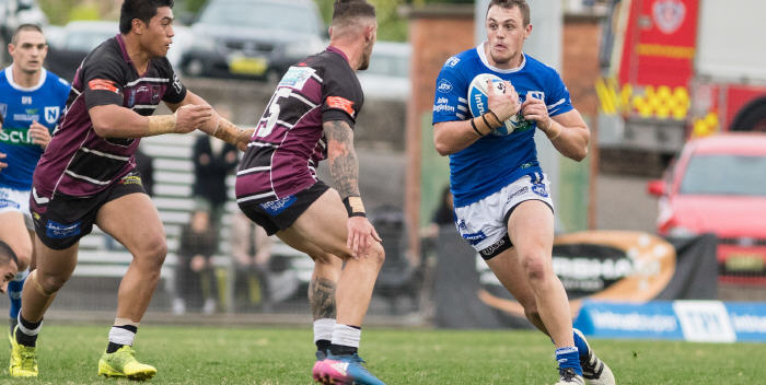 Newtown Jets front-rower Jaimin Jolliffe takes the ball up against Blacktown Workers Sea Eagles at Henson Park last Saturday. Photo: Mario Facchini (MAF Photography)