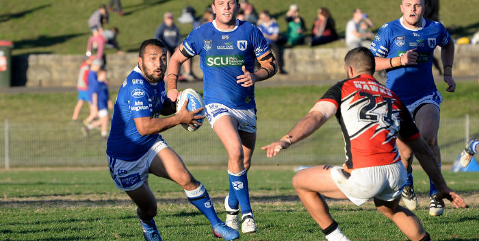 Newtown halfback Penani Manumalealii looks to evade a Wests Tigers defender at Henson Park last Saturday, with Jets team-mates Kurt Dillon and Jaimin (Jimmy) Jolliffe close by. Photo: Michael Magee Photography