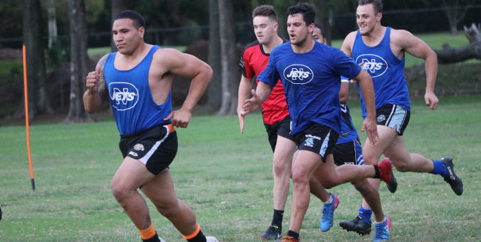 Giant front-rower Wes Lolo, an off-season signing from Wests Tigers, leads this group in some arduous circuit work at a recent Newtown Jets training session. Photo: Wayne Leong Photography
