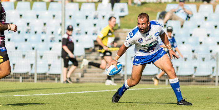 Newtown Jets back-rower Anthony Moraitis roars in triumph as he crosses the tryline to score in last Saturday's ISP NSW trial match. Photo: MAF Photography (Mario Facchini)