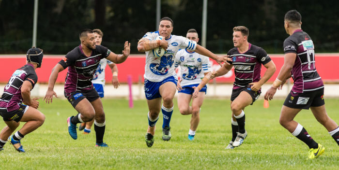 Newtown Jets front-rower Wes Lolo carts the ball up against the Sea Eagles defence at Wentworth Park yesterday. Photo: MAF Photography (Mario Facchini