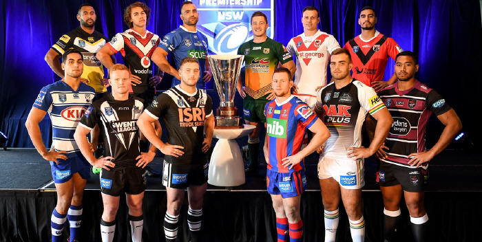 The Intrust Super Premiership NSW club captains, including Newtown's Anthony Moraitis, lined up in their team's colours at yesterday's NSW Rugby League season launch. Photo supplied by the NSW Rugby League.