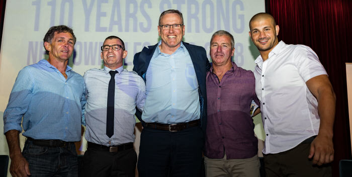 These former Newtown Jets high-performance players were all in attendance at the 2018 Newtown Jets season launch last Tuesday night. From left to right: Paul Danes, Scott Fleming, Peter Baumgart, Darryl Neville and Ray Moujalli. Photo: MAF Photography (Mario Facchini)