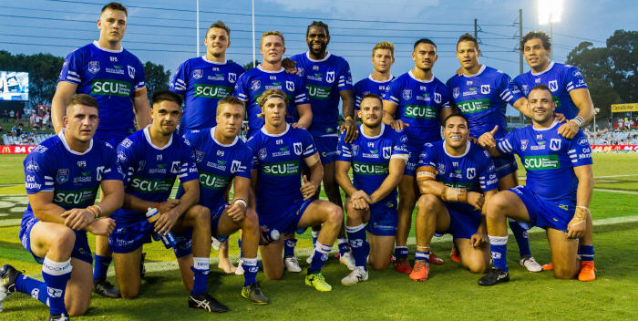 The Newtown Jets lads of 2018 pose for a group shot after defeating St George Illawarra 24-12 in the NSWRL Intrust Super Premiership second round match played on Thursday evening, 15th March. Photo: Mario Facchini (MAF Photography)