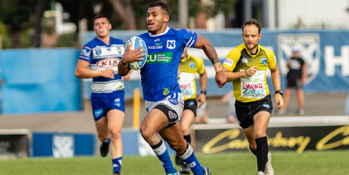 Newtown Jets winger Sione Katoa is pictured in full flight against the Canterbury-Bankstown Bulldogs at Belmore Sports Ground last Saturday. Photo: Mario Facchini, MAF Photography