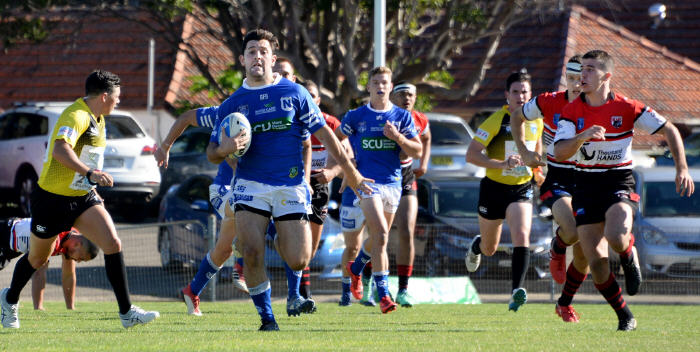 Newtown Jets backrower George Tsikrikas sprints clear of the North Sydney Bears defence after taking an intercept in last Saturday's drawn match at Henson Park. Photo: Michael Magee Photography.