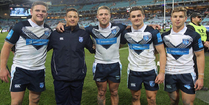 The Newtown Jets had a record five representatives selected in the 2018 NSW Residents rugby league rep team, and they are all pictured here at ANZ Stadium on Sunday evening. From left to right: Kurt Dillon, Scott Sorensen, Aaron Gray, Kyle Flanagan and Blayke Brailey. Photo: Supplied courtesy of the NSW Rugby League