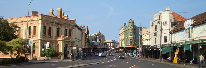 King Street, Newtown – the epicentre of the Newtown Jets heartland. This photo was taken in 2017, and yet this streetscape in many respects is relatively unchanged from 1908. Photo: Newtown RLFC source.