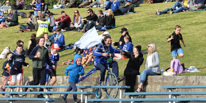 """Newtown Jets club identity John Trad is well-known at Henson Park home games as """"the man on the penny-farthing bicycle"""". He features in this Friday night's TV movie Chasing Comets. Photo: Michael Magee Photography."""