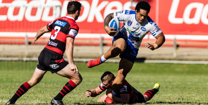 Photo caption: New signing Siosifa Talakai steps clear of a North Sydney Bears defender in Sunday's Intrust Super Premiership trial match played at Wentworth Park. Siosifa played with the Penrith Panthers in 2018. Photo: Mario Facchini, mafphotography